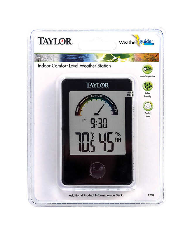 Taylor  Comfort Level Hygrometer  Digital Thermometer  Plastic  Black