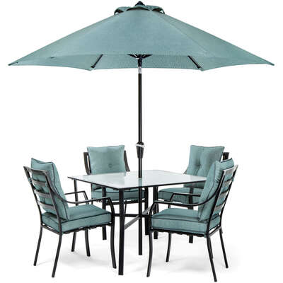 Hanover  Lavallette  5 pc. Minuit  Steel  Dining Set with Umbrella  Ocean Blue