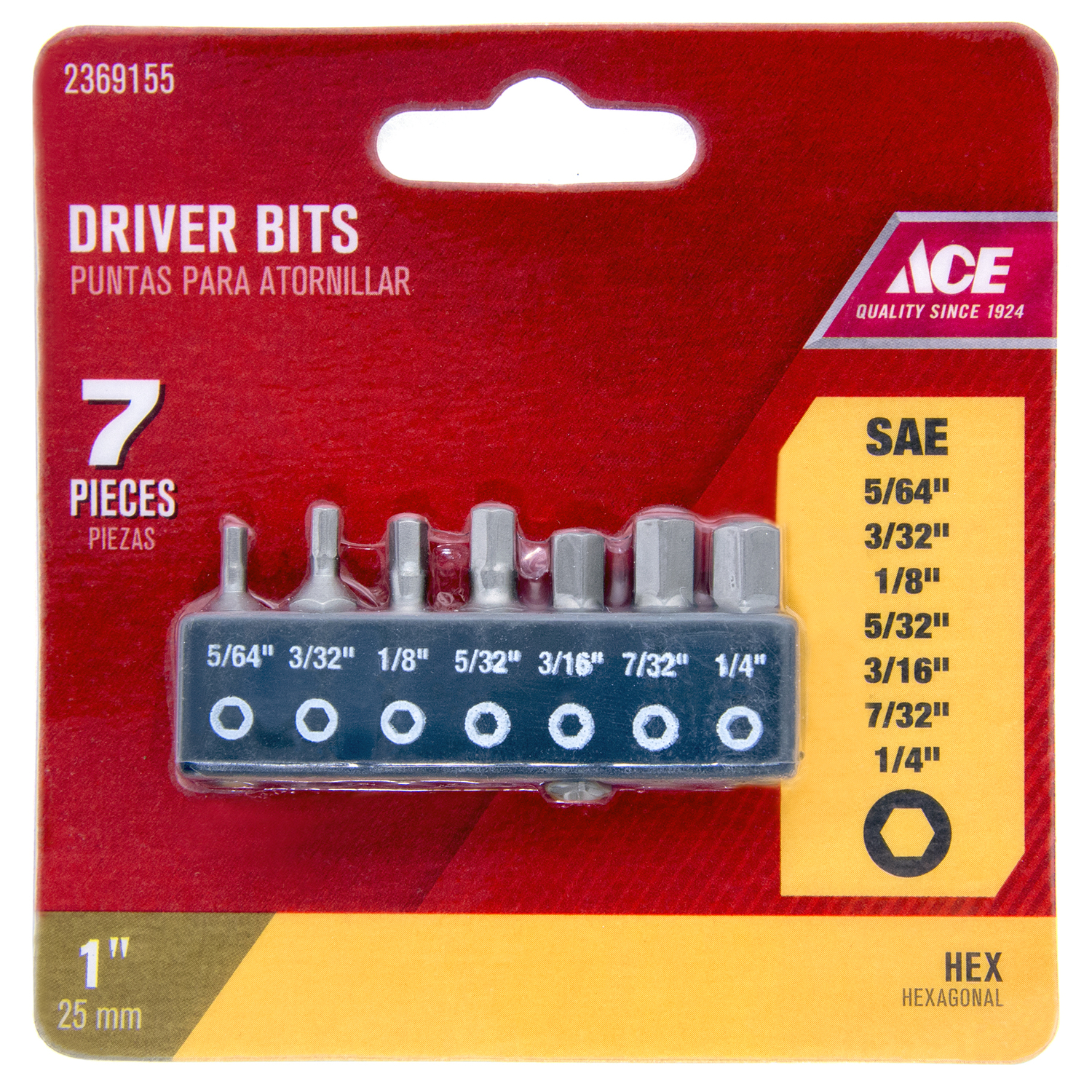 Ace  Hex  Multi Size in.  x 1 in. L 1/4 in. S2 Tool Steel  7 pc. Insert Bit Set  Hex Shank