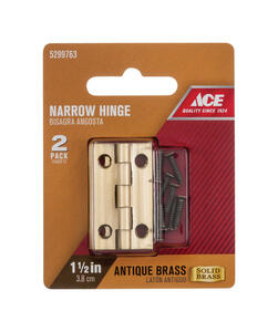 Ace  2.75 in. W x 1-1/2 in. L Antique Brass  Brass  Narrow Hinge  2 pk