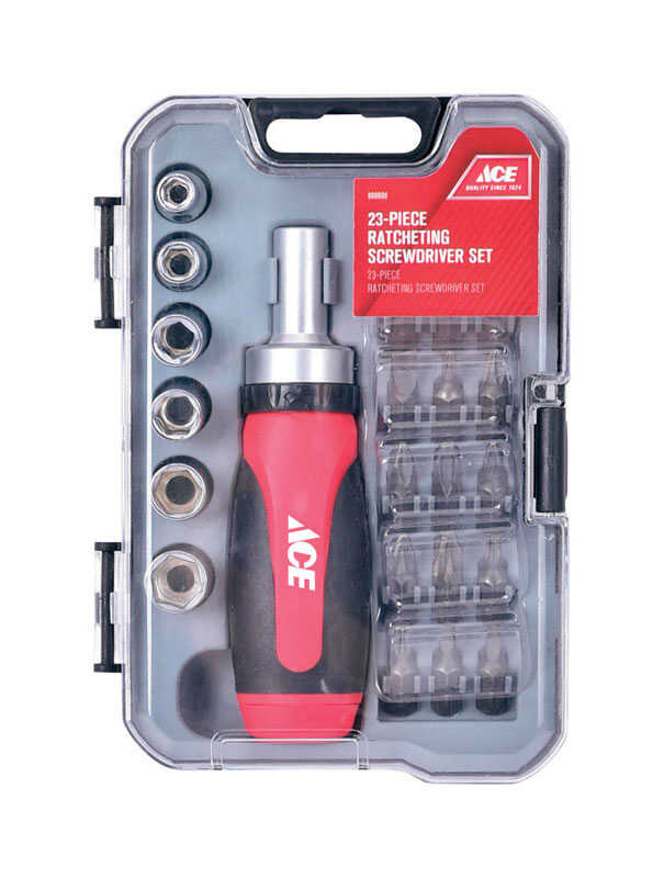Ace  23 pc. Assorted  Multi-Bit Screwdriver Set  Metal  Ratcheting