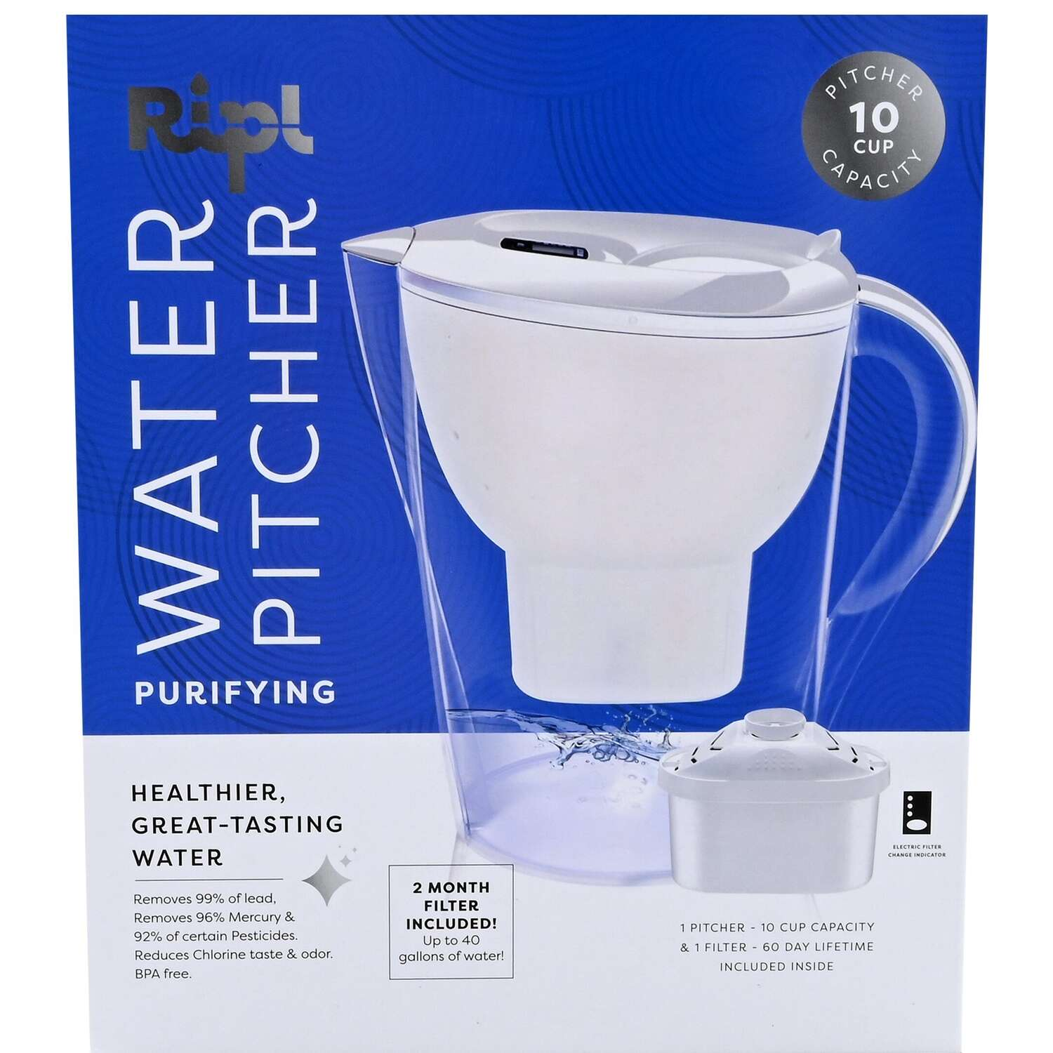 Ripl  10 cup Clear  Water Filter Pitcher