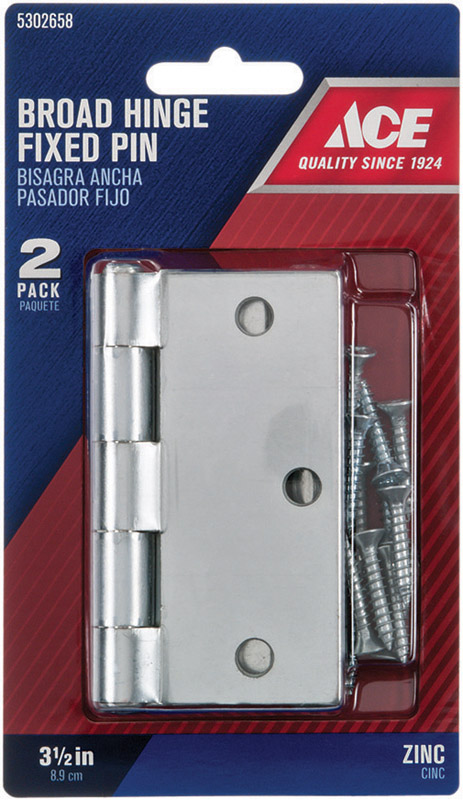 Ace  3-1/2 in. L Zinc-Plated  Steel  Broad Hinge  2 pk