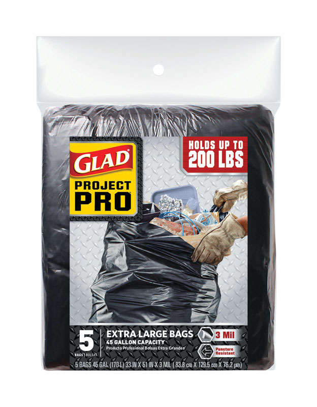 Glad  Project Pro  45 gal. Trash Bags  Flap Tie  5 pk