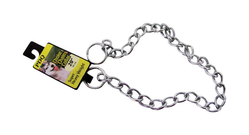 PDQ  Silver  Chain  Steel  Dog  Collar  Large/X-Large