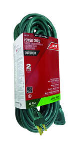 Ace  15 ft. L Green  Extension Cord  16/3 SJTW  Indoor and Outdoor