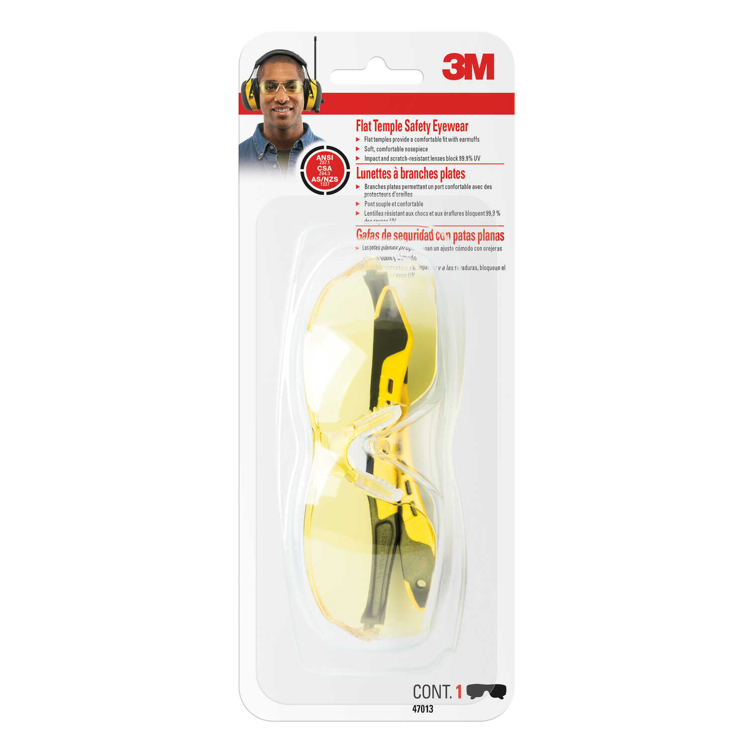 3M  Safety Glasses  Yellow Lens Black/Yellow Frame 1 pc.