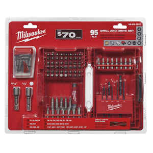 Milwaukee  SHOCKWAVE  Assorted  1 in. L Drill and Driver Bit Set  Steel  95 pc.