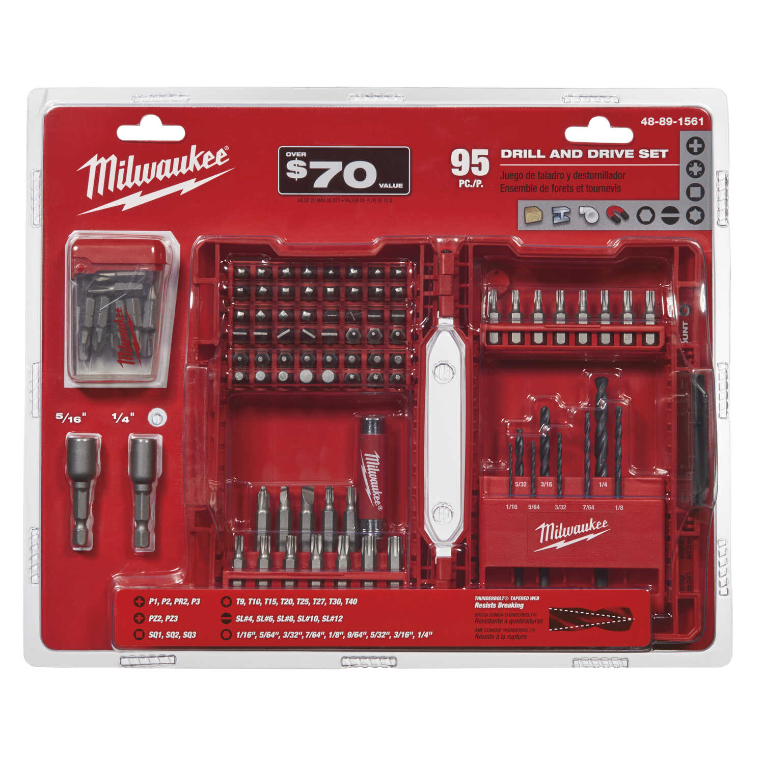 Milwaukee  SHOCKWAVE  Assorted  1 in. L Drill and Driver Bit Set  Steel  95 pc. Hex Shank  1/4 in.