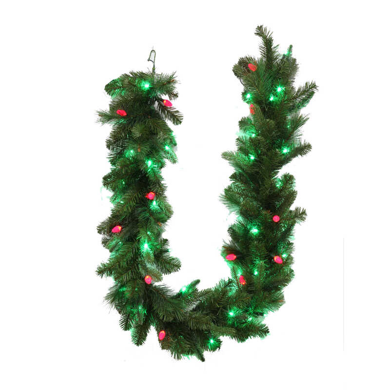 Celebrations  Prelit LED Garland  Green  6 ft. L Green/Red