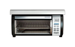 Black and Decker  SpaceMaker  Stainless Steel  Black/Silver  4 slot Convection Toaster Oven  8 in. H