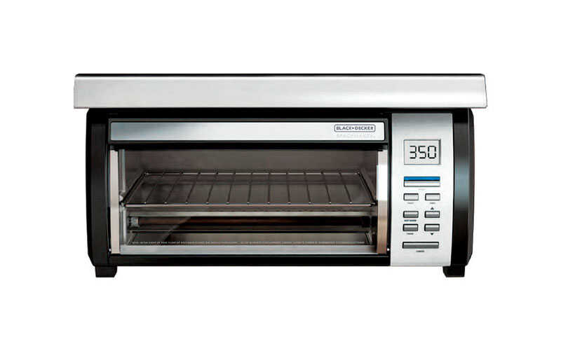 Black and Decker  SpaceMaker  Stainless Steel  Black/Silver  4  Convection Toaster Oven  8 in. H x 1