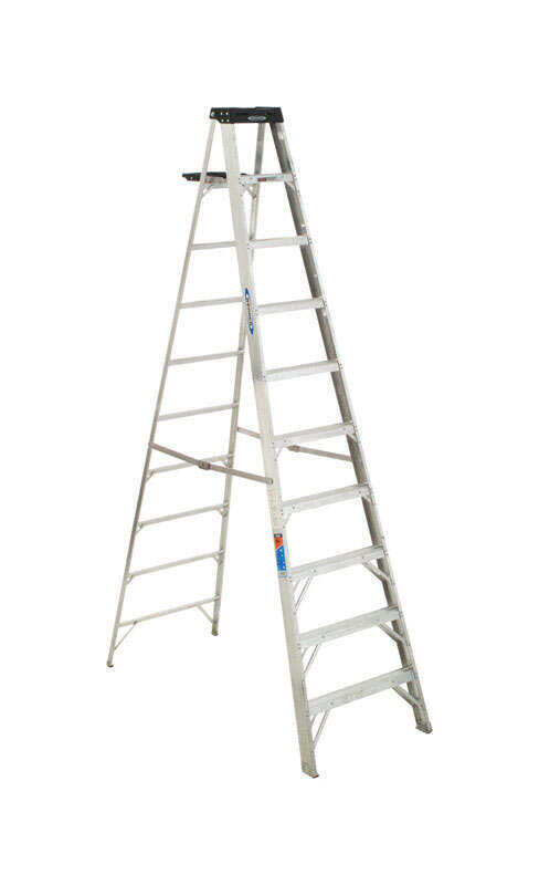 Werner 10 ft. H x 30 in. W Aluminum Step Ladder Type IA 300 lb. capacity