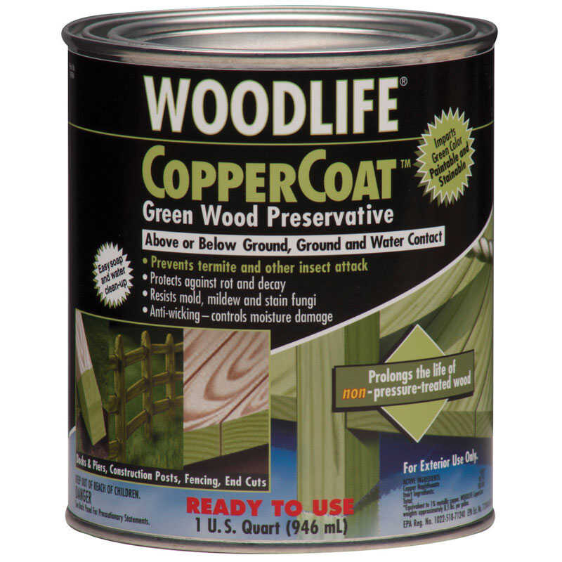 Woodlife  CopperCoat  Green  Water-Based  Wood Preservative  1 qt.