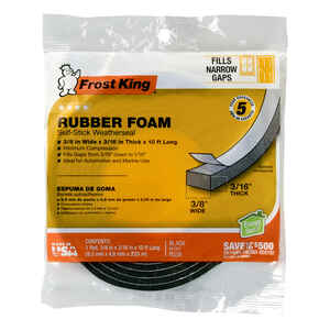 Frost King  Black  Rubber Foam  Weather Stripping Tape  For Doors and Windows 10 ft. L x 3/16 in.
