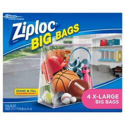 Ziploc  Big Bags  10 gal. Storage Bag  Clear