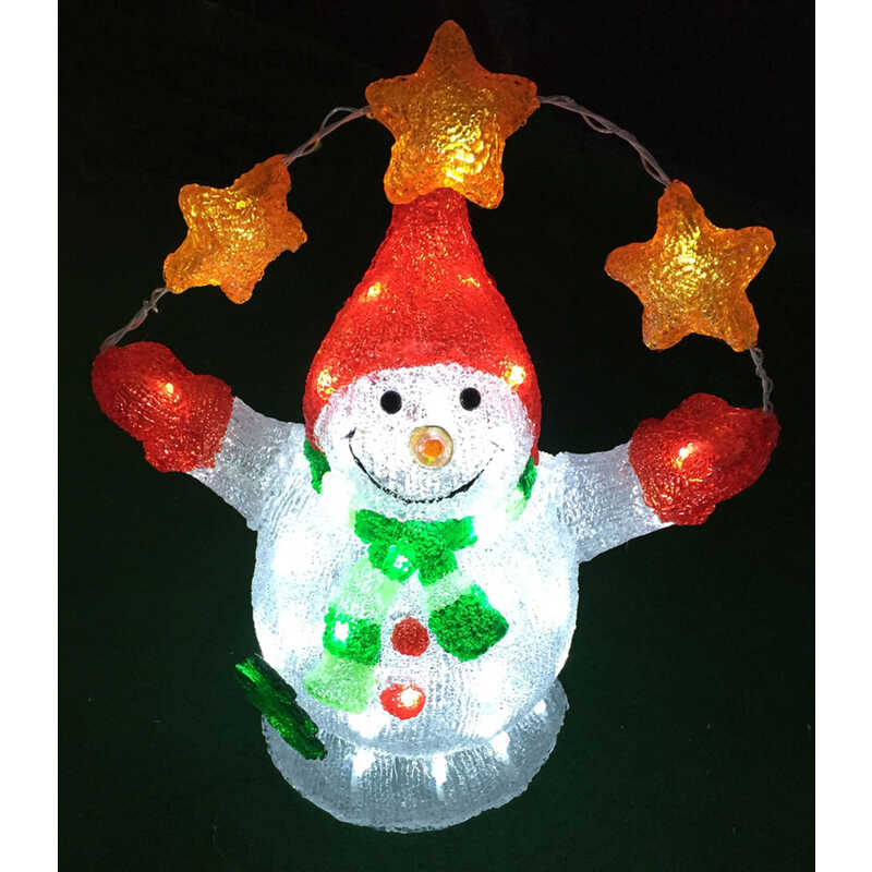 Celebrations  LED Snowman  Christmas Decoration  White  Acrylic  1 pk