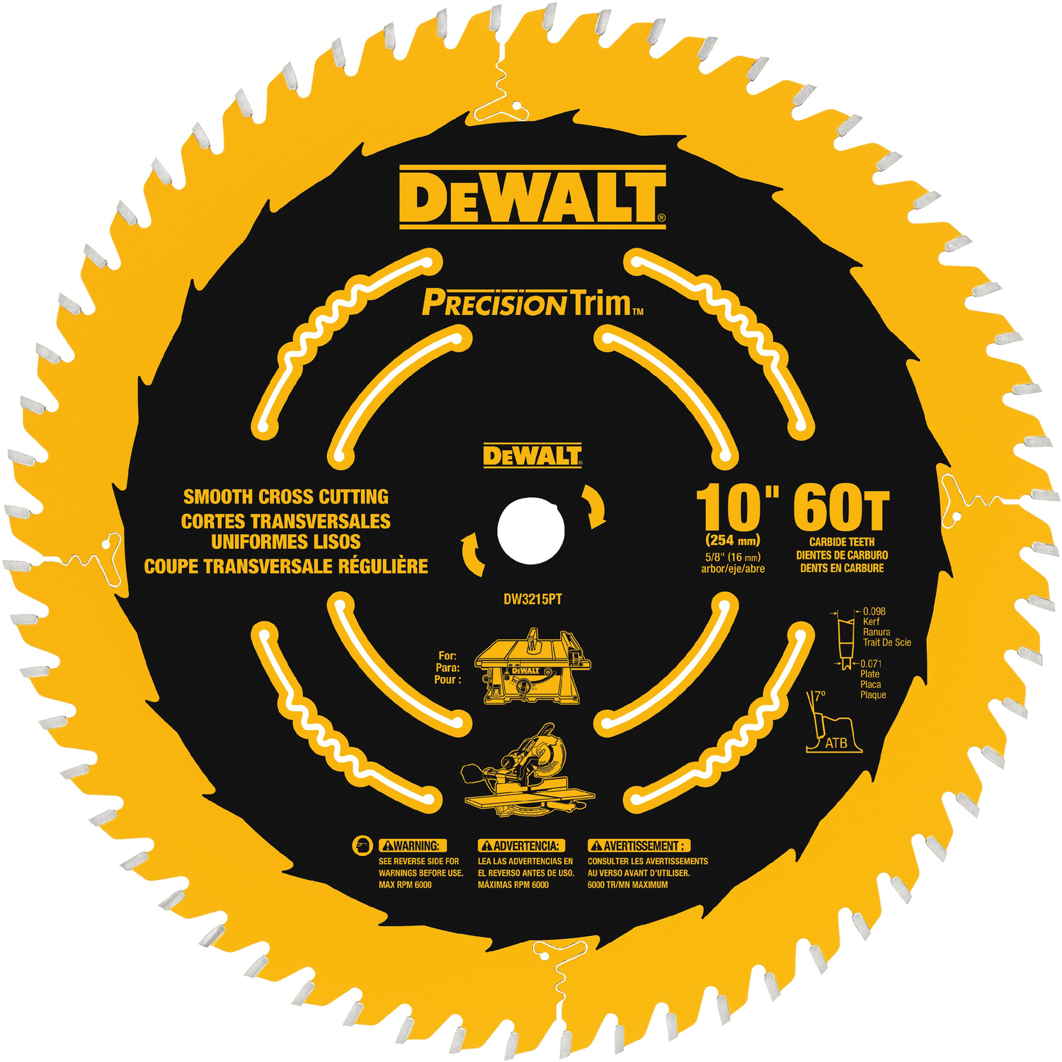 DeWalt  10 in.  Carbide Tipped  Circular Saw Blade  0.071 in.  5/8 in.  1 pk 60 teeth Precision Trim