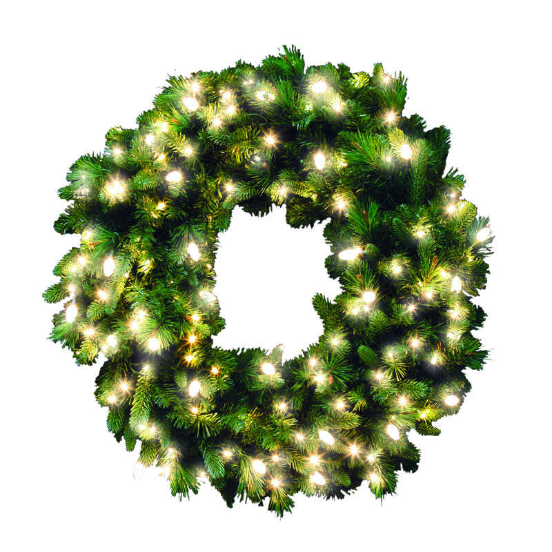 Celebrations  Prelit Green  Wreath  36 in. Dia. Warm White