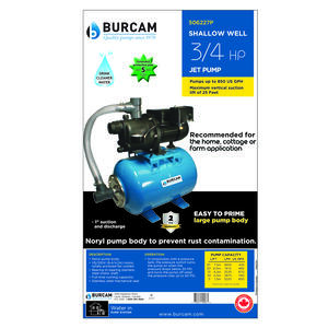 Burcam  Thermoplastic  Shallow Well Jet Tank System  3/4 hp 850 gph