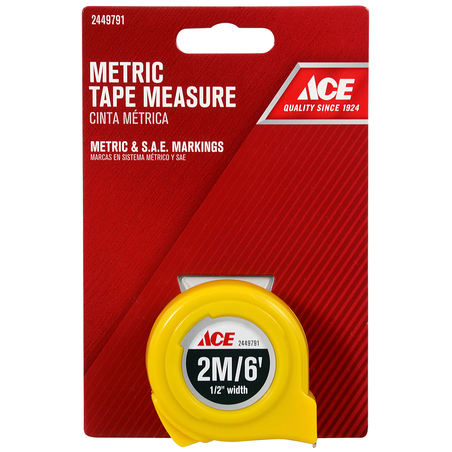 Ace  6 ft. L x 0.5 in. W High Visibility  Metric Tape Measure  Yellow  1 pk