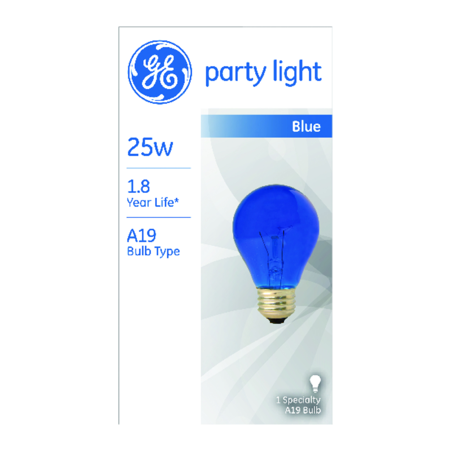 GE Lighting  party light  25 watts A19  Incandescent Bulb  Blue  A-Line  1 pk