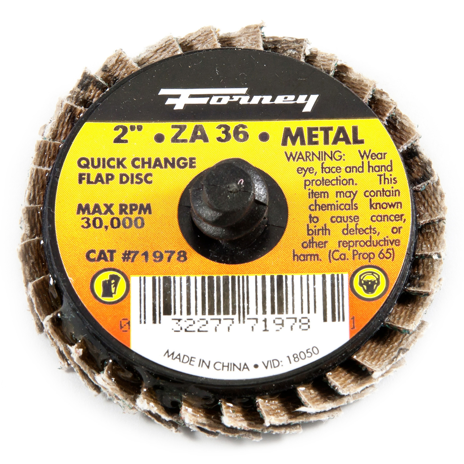 Forney  Industries Quick Change  2 in. Dia. Zirconia Aluminum Oxide  Flap Disc  36 Grit 30000 rpm 1