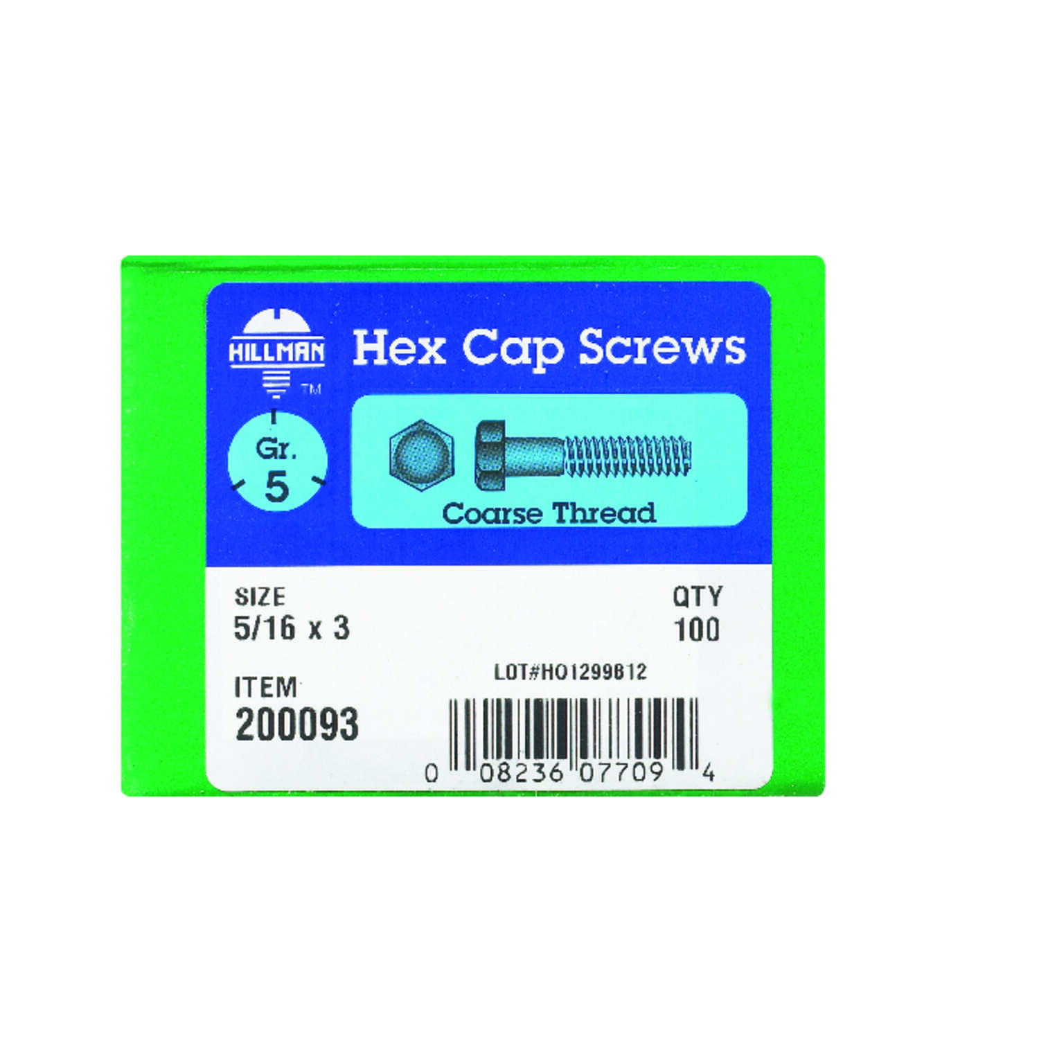 HILLMAN  5/16 in. Dia. x 3 in. L Heat Treated Zinc  Steel  Hex Head Cap Screw  100 box