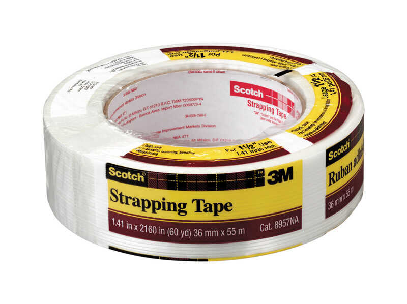 Scotch  1-1/2 in. W x 60 yd. L x 60 yd. L x 1-1/2 in. W White  Strapping Tape
