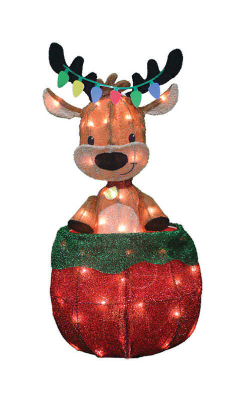 Candy Cane Lane  Pre-Lit Reindeer  Yard Art  Multicolored  Metal  1 pk