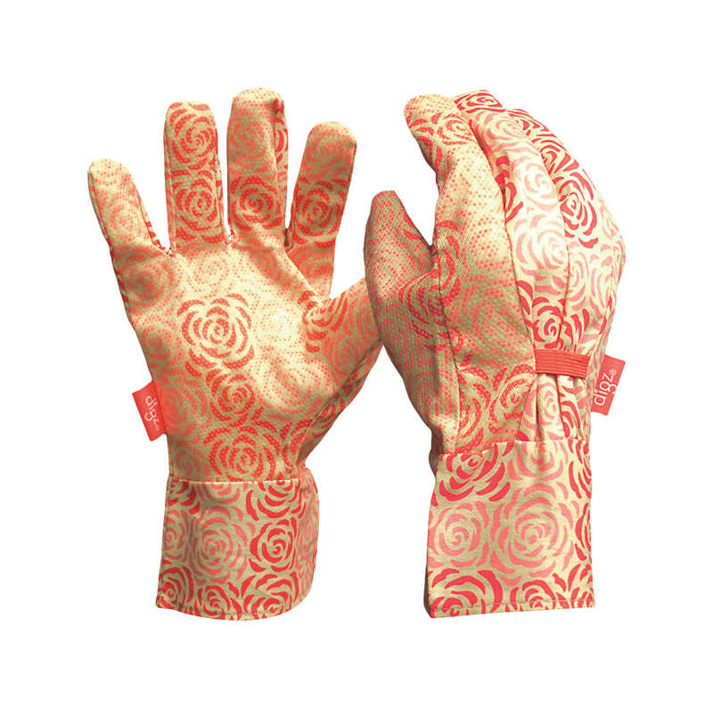 Digz  Women's  Indoor/Outdoor  Canvas  Dotted  Gardening Gloves  Red/White  M  1 pair