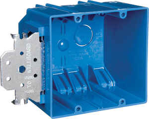 Carlon  3-3/4 in. 2 gang Outlet Box  Blue  Rectangle  PVC