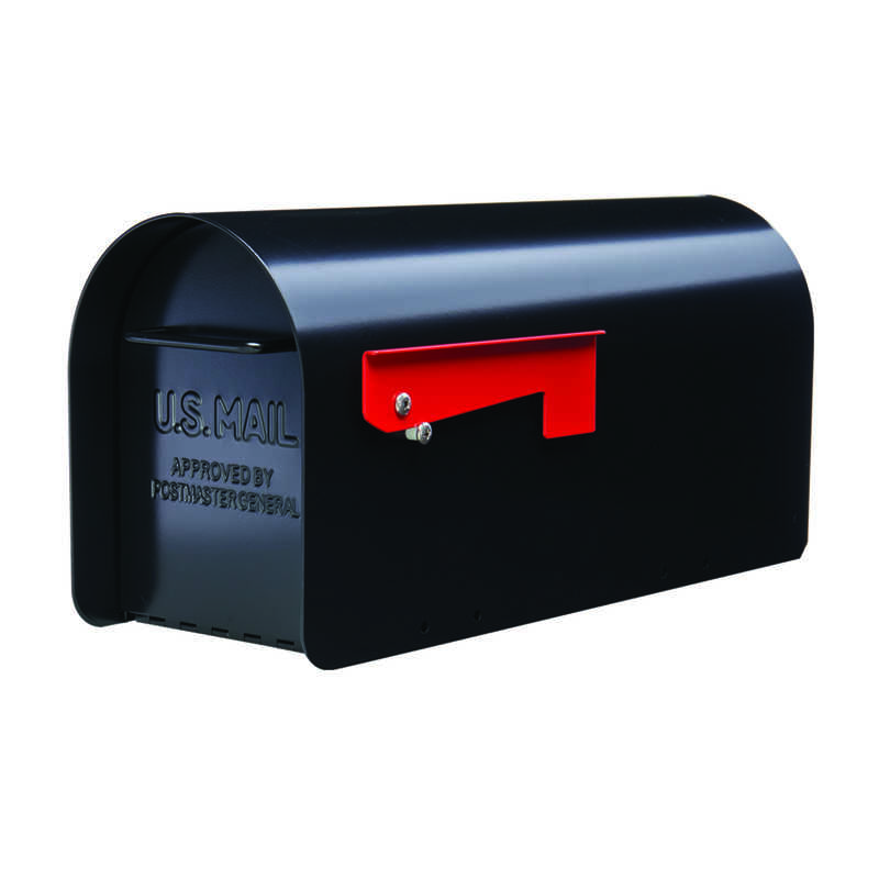 Gibraltar  Sleek, traditional  Galvanized Steel  Post Mounted  Black  Mailbox  9.6 in. H x 7.8 in. W