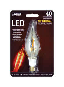 FEIT Electric  Vintage Style  CA10  E12 (Candelabra)  LED Bulb  Warm White  40 Watt Equivalence 1 pk