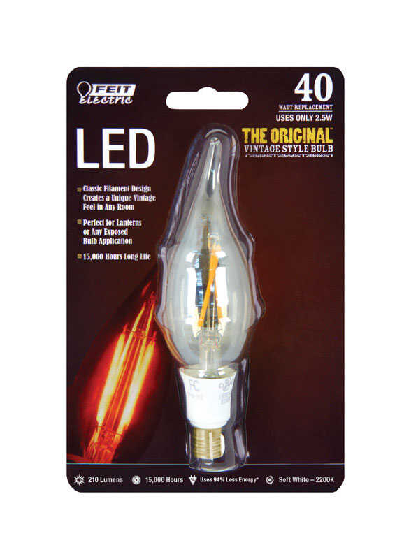 FEIT Electric  Vintage Style  2.5 watts CA10  LED Bulb  210 lumens Soft White  40 Watt Equivalence C
