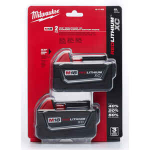 Milwaukee  M18 REDLITHIUM XC  18 volt 3 Ah Lithium-Ion  Battery Combo Pack  2 pc.