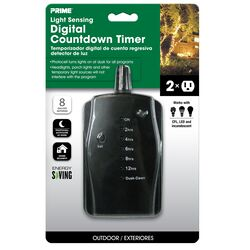 Prime  Outdoor  24 Hour Digital Countdown Timer with Two Grounded Outlets  125 volt Black