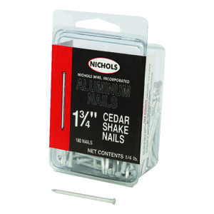 Nichols Wire  1-3/4 in. L Shake  Aluminum  Nail  Sinker Head Smooth Shank  180  1/4 lb.