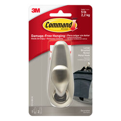 Command  4-1/8 in. L Brushed Nickel  Metal  Large  Hook  5 lb. capacity 1 pk