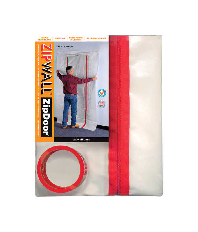 Zipwall  ZipDoor  Heavy Weight  Plastic  Door Kit  4 ft. W x 8 ft. L