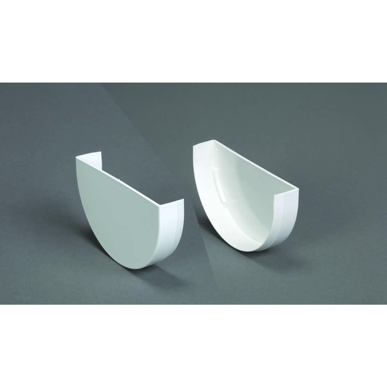 Plastmo Classic 4 in  W White Vinyl Half Round Gutter End