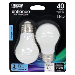 Feit Electric  Enhance  A15  E26 (Medium)  Filament LED Bulb  Daylight  40 Watt Equivalence 2 pk