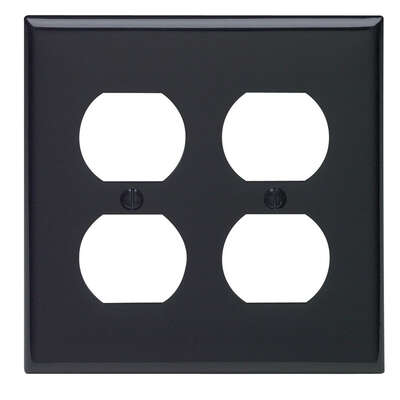 Leviton Black 2 gang Nylon Duplex Outlet Wall Plate 1 pk