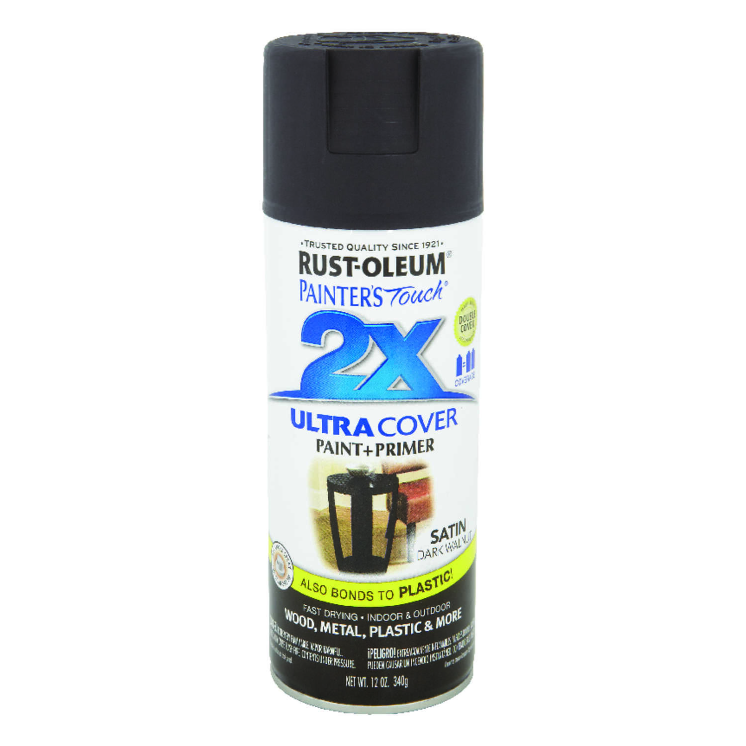 Rust-Oleum  Painter's Touch Ultra Cover  Satin  Dark Walnut  Spray Paint  12 oz.