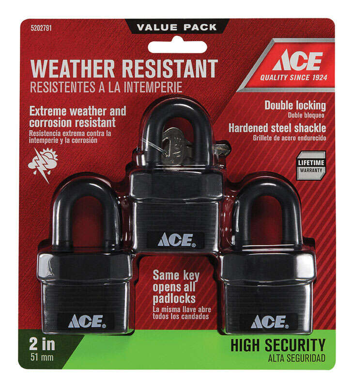 Ace  1-3/4 in. W x 1-5/8 in. H Double Locking  Padlock  3 pk Keyed Alike Steel