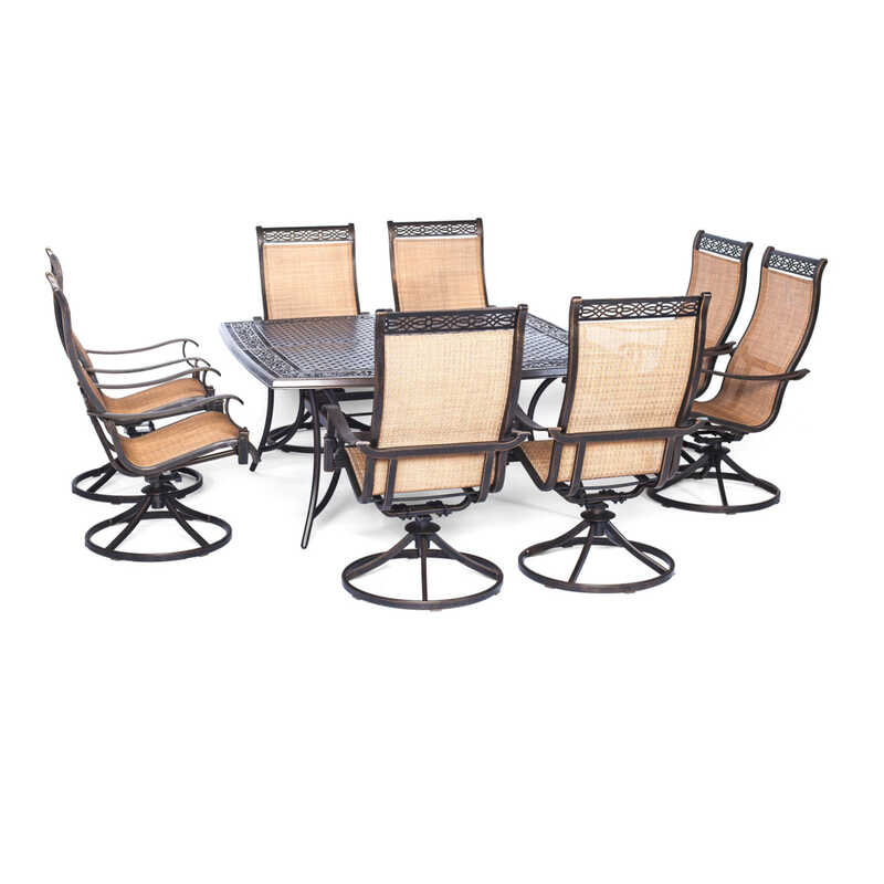 Hanover  9 pc. Brown  Aluminum  Dining Patio Set