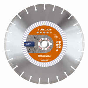 Husqvarna  Banner Line  14  Diamond  Blue 200B  Segmented Rim Saw Blade  0.11 in. thick  1 in.  1 pk