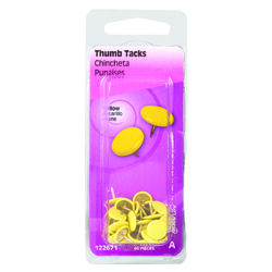 Hillman  0.375 in. L Yellow  Steel  Thumb Tacks  40 pk