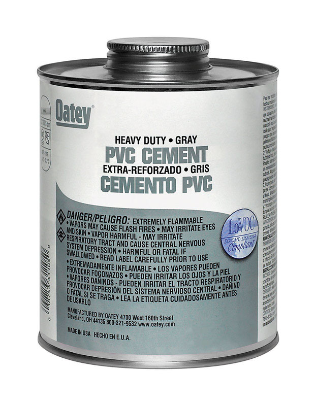 Oatey  Heavy Duty  Cement  For PVC 16 oz. Gray