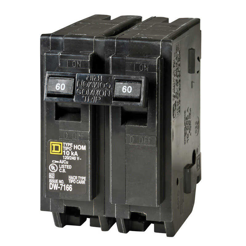Square D  HomeLine  60 amps Plug In  2-Pole  Circuit Breaker